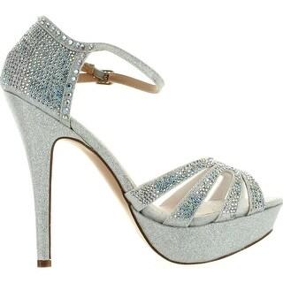 De Blossom Womens Vice-136 Strappy Glitter Stiletto Platform Ankle Strap Dress Sandals