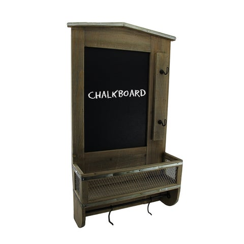 Rustic Wall Mounted Wooden Chalkboard Organization Center