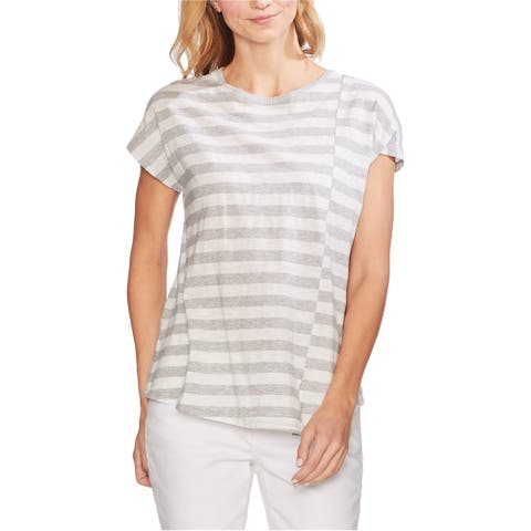 Vince Camuto Womens Spliced Basic T-Shirt, Grey, X-Small