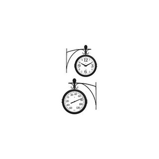 Springfield 91572w Springfield 91572 Dual Sided Outdoor Thermometer and Clock with Wall Bracket