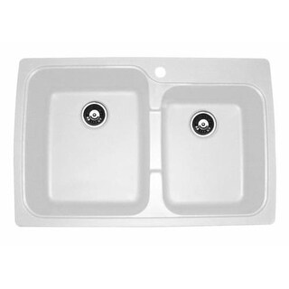 "Jacuzzi AS-US20RUSSK Astracast 33"" Double Basin Drop-In Granite Composite Kitchen Sink"