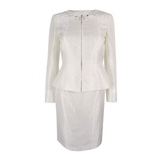 Tahari ASL Women's Beaded Skirt Suit Set - Pearl White (2 options available)