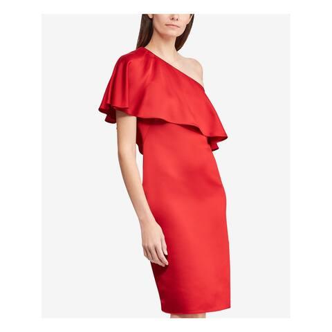 RALPH LAUREN Womens Red One Shoulder Asymmetrical Neckline Above The Knee Sheath Cocktail Dress Size: 6