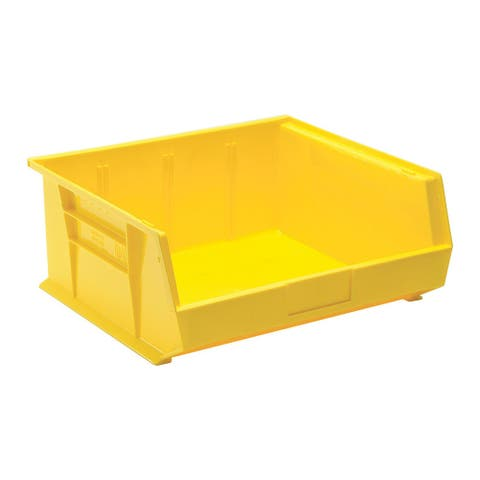 """Offex Plastic Storage Yellow Stack and Hang Bin 14-3/4"""" x 16-1/2"""" x 7"""" - 6 Pack"""