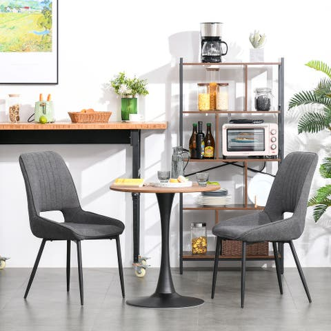 "HOMCOM Modern Round Dining Table with Spacious Tabletop and Metal Base for Kitchen or Dining Room, Natural Wood - 27.5""x28.75"""