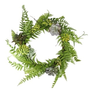 Assorted Leaves and Succulents Artificial Spring Wreath, Green 22-Inch - N/A