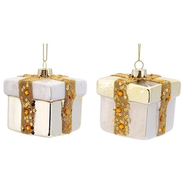 "12 ct White and Soft Gold Glass Present with Ribbon Christmas Ornaments 3""H"