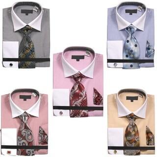 Men's Zig Zag Pattern Dress Shirt with Tie Handkerchief and Cufflinks