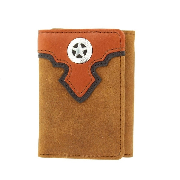 Nocona Western Wallet Classic Mens Trifold Star Medium Brown - One size