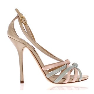 Dolce & Gabbana Multicolor Silk Leather Strappy Shoes - 39
