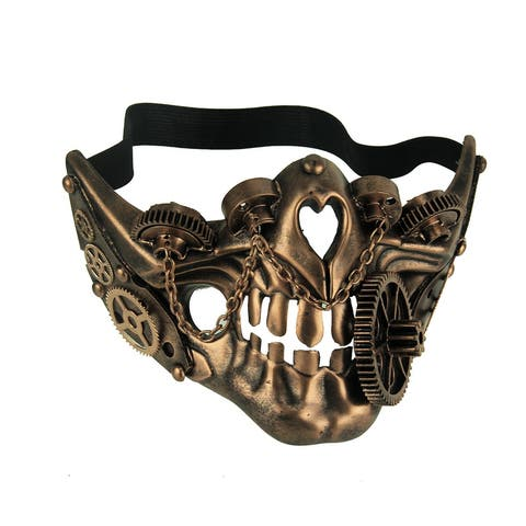 Grinding Gears Adult Steampunk Skull Half Face Mask - 4.5 X 7.25 X 4.25 inches