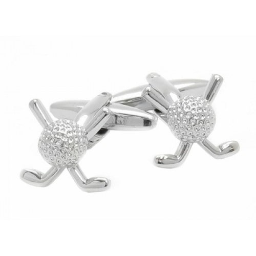 Silver Golf Sport Clubs Golfball Cuff Links