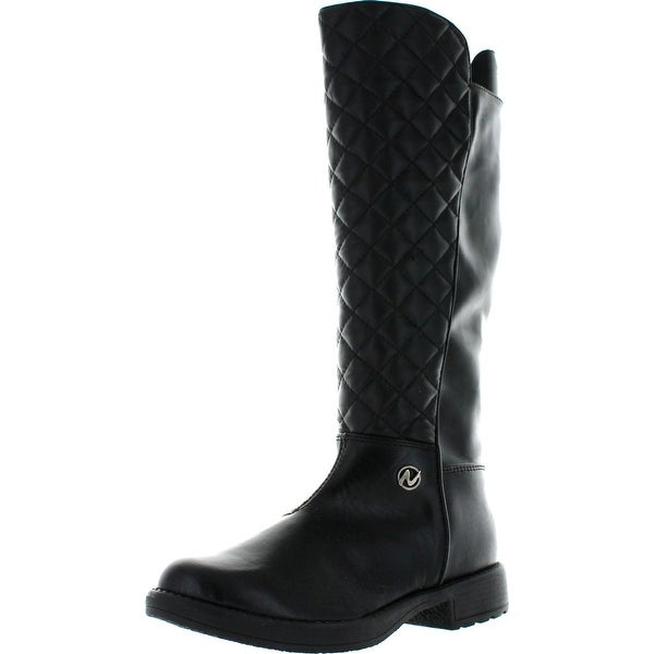 Naturino Girls 3929 Quilted Tall Designier Riding Boots - Black