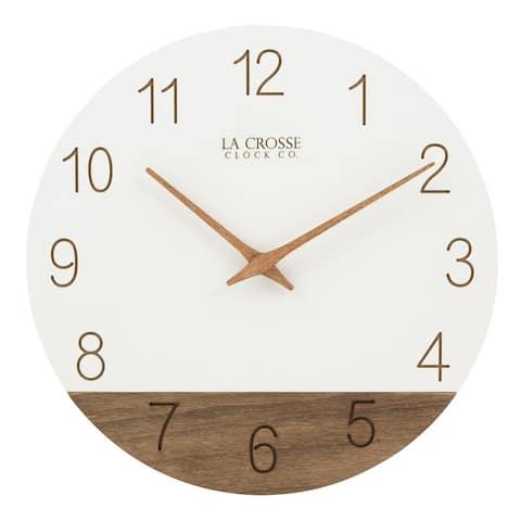 "La Crosse Clock 404-3630B 12"" Sierra Wood Quartz Analog Wall Clock"