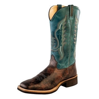 Old West Cowboy Boots Mens Crepe Outsole Dirty Reddish Brown