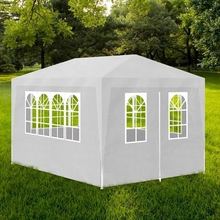 vidaXL Outdoor Party Tent w/ 4 Walls 10'x13' White Wedding Patio Gazebo Canopy