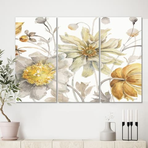 Designart 'Fields of Gold Watercolor Flower V' Traditional Gallery-wrapped Canvas