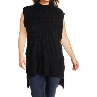 Modamix Womens Turtleneck Sweater Hi-Low Sleeveless