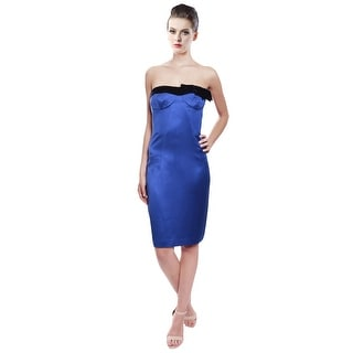 Escada Vibrant Royal Blue Silk Strapless Cocktail Evening Dress