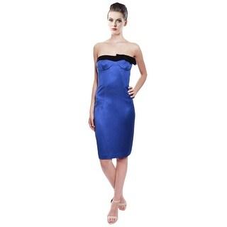 Escada Vibrant Royal Blue Silk Strapless Cocktail Evening Dress
