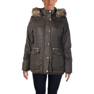 Kensie Womens Ribbed Knit Trim Quilted Parka