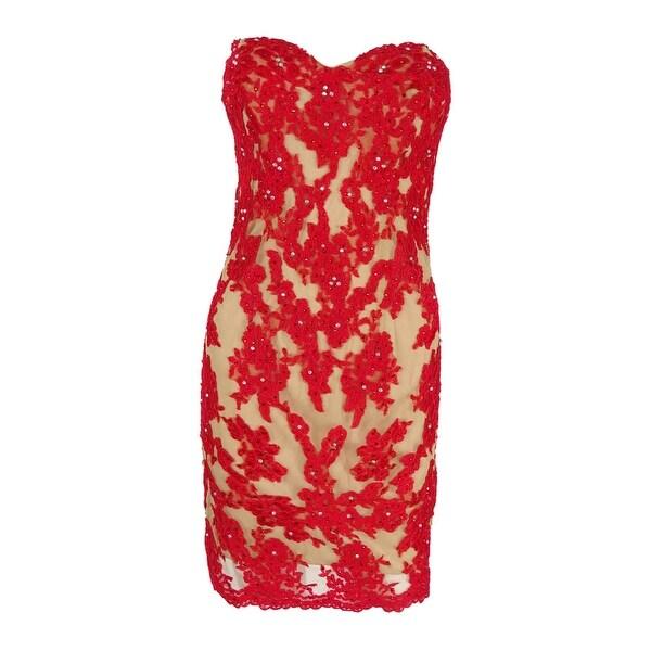 Shop Xscape Women S Strapless Lace Illusion Dress Bright
