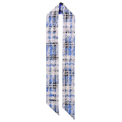 Burberry Womens Blue White Check Scribble Silk Twill Skinny Scarf~RTL$190 - One Size
