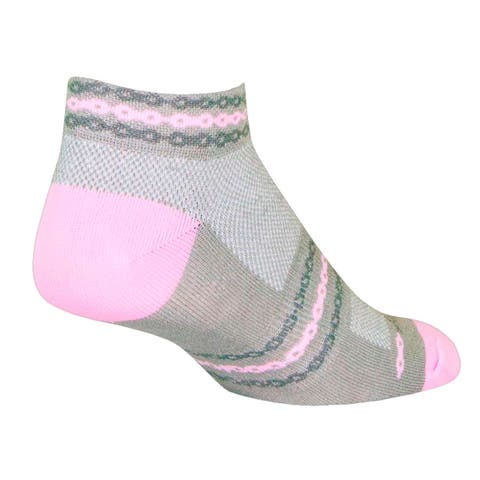 SockGuy Women's 1in Pink Chain Cycling/Running Socks - pink chain