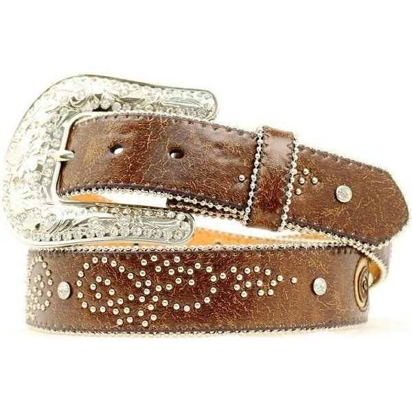 Nocona Western Belt Womens Fleur De Lis Bling Marbled Brown