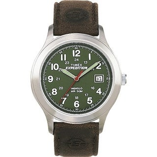 """""""Timex Expedition Metal Field Full-Size Watch - Olive Dial/Brown Leather Expedition Metal Field Fullsize Olive Dial Watch"""""""