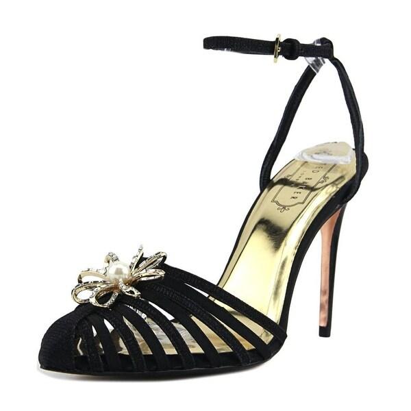 Ted Baker Zhine Women Open Toe Canvas Black Sandals