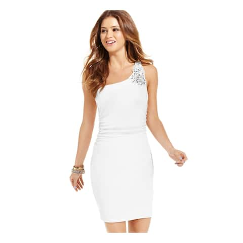 EMERALD SUNDAE Womens Beige Embellished, Ruched Speckle Sleeveless Asymmetrical Neckline Mini Body Con Party Dress Plus Size: L