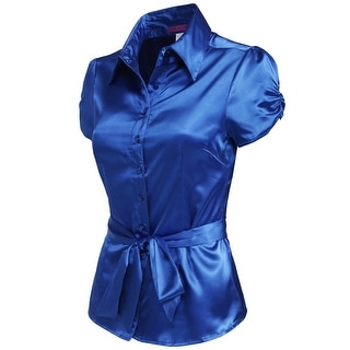 NE PEOPLE Womens Satin Blouse Top with Waist Tie (NEWT194)