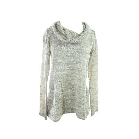 Sanctuary Ne White Long-Sleeve Cowl-Neck Marled-Knit Sweater S