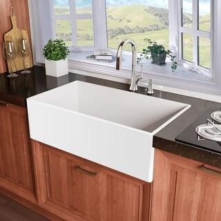 "Miseno MNO3020AFC Inferno 30"" Single Basin Farmhouse Fireclay Kitchen Sink - White"