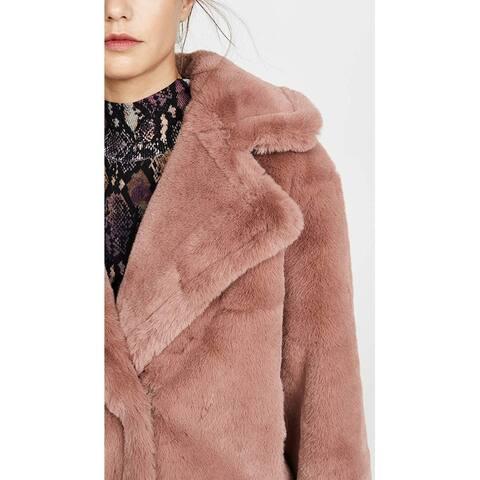 BB Dakota Women's Big Time Plush Faux Fur Jacket, Rose Taupe, Tan, Pink, Small