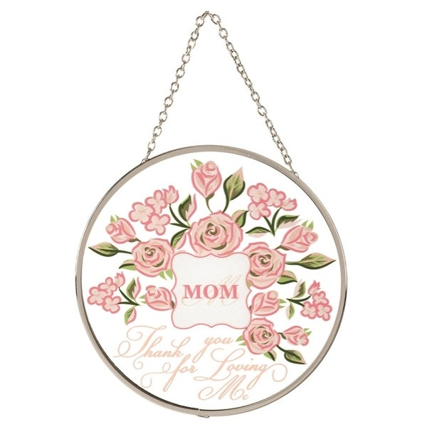 "6"" Pink and Silver ""MOM Thank you for Loving Me"" Window Suncatcher - N/A"