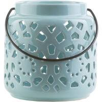 "6.5"" Madison Links Pastel Blue Ceramic Small Pillar Candle Holder Lantern"