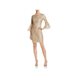 Aidan Mattox Womens Cocktail Dress Bell Sleeves Sequined