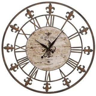 "Aspire Home Accents 13813 36"" Wrought Iron Wall Clock - Brown"