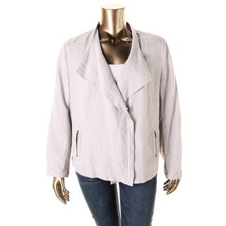 Nic + Zoe Womens Plus Linen Blend Long Sleeves Jacket - 3X