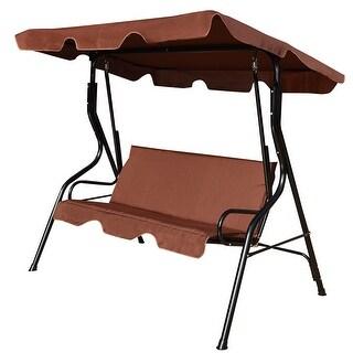 Costway 3 Seats Patio Canopy Swing Glider Hammock Cushioned Steel Frame Backyar Coffee