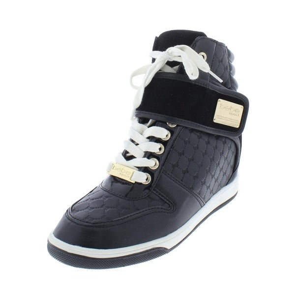8a2f5ff64b32 Bebe Sport Womens Colby Fashion Sneakers Faux Leather Wedge - 8.5 Medium  (B