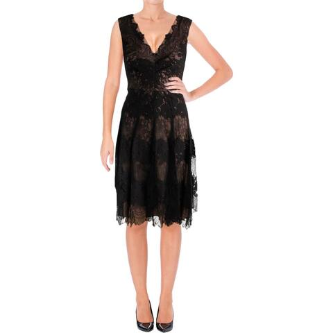 ce025f1809b Vera Wang Womens Cocktail Dress Lace Double-V