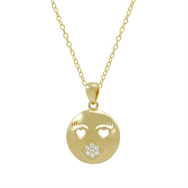 Amanda Rose Cubic Zirconia Kissy Face Emoji Pendant-Necklace in Gold Over Sterling Silver on an 18 inch chain