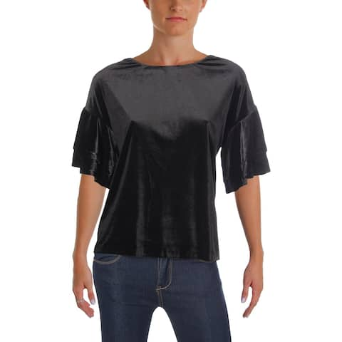Aqua Womens Blouse Velvet Ruffle Sleeves