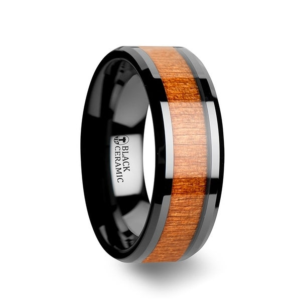 Iowa Black Ceramic Wedding Ring With Polished Bevels And Black Cherry Wood Inlay
