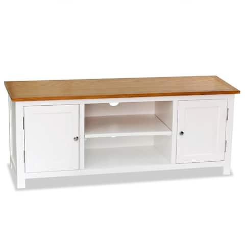 "vidaXL TV Cabinet 47.2""x13.8""x18.9"" Solid Oak Wood"
