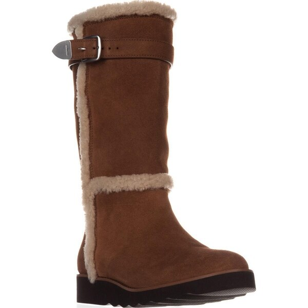 Coach Belment Mid-Calf Fleece-Lined Winter Boots, Saddle Suede