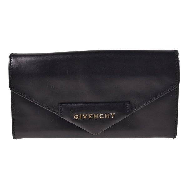 Givenchy Smooth Black Leather Continental Button Snap Wallet